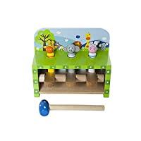 Mousehouse Gifts Wooden Toy Safari Animal Pop Up Peg Pounding Hammer Toy for Baby Toddler Boy or Girl