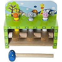Jouet enfant en bois banc à marteler safari animaux pop up pour bébé garçon ou fille