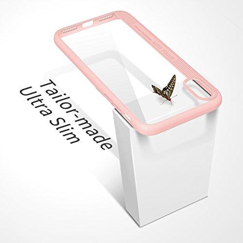 MoKo iPhone X Hülle - [Kristall Durchsichtig Serie] Slim Transparent TPU Silikon Schutzhülle Crystal Clear Kratzfeste Case Cover Bumper Handyhülle Schale für Apple iPhone X / iPhone 10, Schwarz Rosa