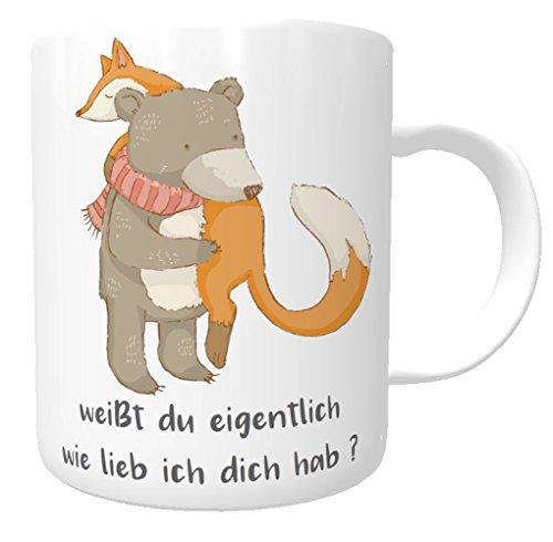 Kinderlampenland Namens-Tasse I Weißt Du Eigentlich Wie Lieb Ich Dich Hab I Bär und Fuchs I Kakaotasse I Kaffee-Tasse I Nostalgie Tasse