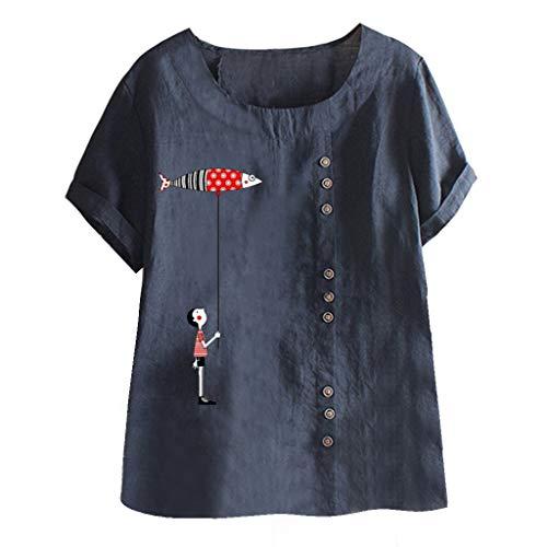 MOTOCO Damen Übergröße T-Shirt Top Fashion Druck Kurzarm Rundhalsausschnitt Lässige T-Shirts aus Baumwolle und Leinen(4XL,Navy-1) -