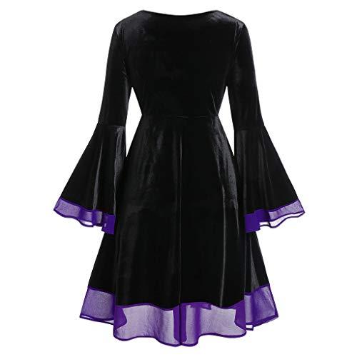 WINLISTING Damen Plus Size Halloween Lace Up Patchwork Langarm Minikleid
