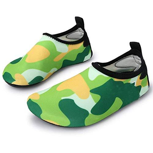 L-RUN Kinder Schwimmen Wasser Schuhe barfuss Aqua Socken Schuhe für Beach Pool Surfen Yoga (2,5-3,5 M Uns Kleines Kind, grün)