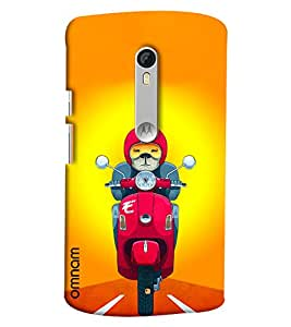 Omnam Dog driving Scooter back cover For Motorola Moto X Style