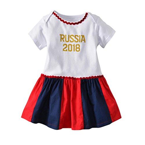 ütlich locker kleider Weltmeisterschaft t-shirt Flickwerk röcke säugling Fußball drucken kleid niedlich mode Russland sommer oberteile dress, 0-24 Monate (6 Monate, Rot) (Baby Mädchen Fußball Kostüm)