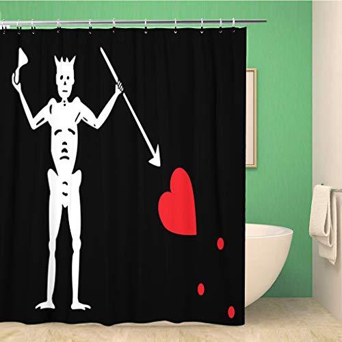 Awowee - tenda da doccia decorativa, motivo: bandiera dei pirati, 180 x 180 cm, in tessuto di poliestere impermeabile, con ganci per il bagno