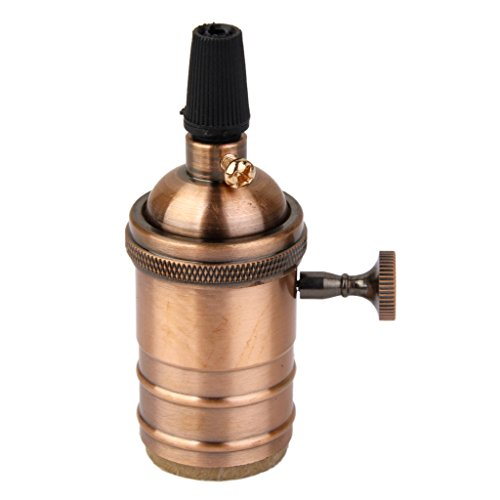 Homyl E27 Douille Ampoule en Cuivre Support de Lampe Vintage - Cuivre Antique