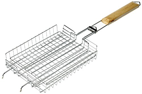 BergHOFF 4490302 63.5 x 21 cm Small Non-Stick Universal BBQ Grilling Basket with Oak Wood Handle - Silver