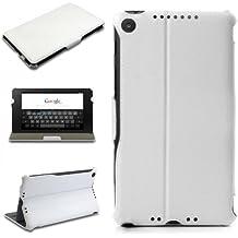 eFabrik Slim Book Case para funda carcasa Cover para Asus Nexus 72013(segunda generación) piel de imitación color blanco
