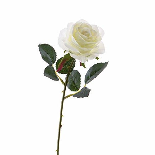 artplants Set 6 x Künstliche Rose Simony, Creme, Textil, 45 cm, Ø 8 cm – 6 Stück Kunstblumen/Rosenstrauß