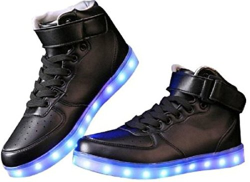 [+Piccolo asciugamano]Luci LED colorati bagliore e ricarica scarpe dargento nuovo scarpe casual USB maschio luminoso e di coppia scarpe femmin c4