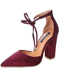 Minetom Donna Estate Scarpe Col Tacco Stiletto Elegante Cinturino Caviglia  Tacco Alto Pompe Partito Sandali Con d88a78fe366