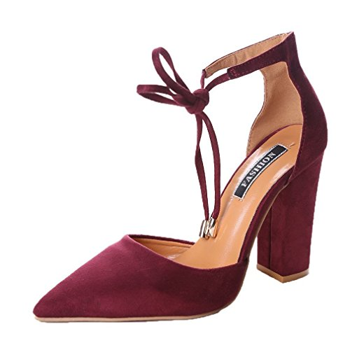 Minetom Women Ankle Lace-Up High Block Heel Office Work Court Shoes Pointed...