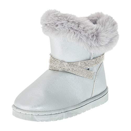 (Gefütterte Mädchen Stiefel Stiefeletten Winter Schuhe mit Strass und Fell M499si Silber 28 EU)