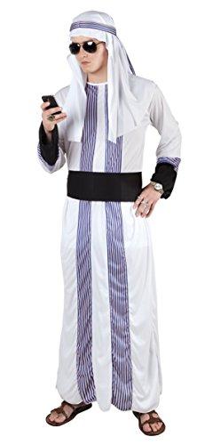 erdbeerloft - Herren Hochwertiges Kostüm Scheich, Weiß, (Kostüm Einfache Scheich)