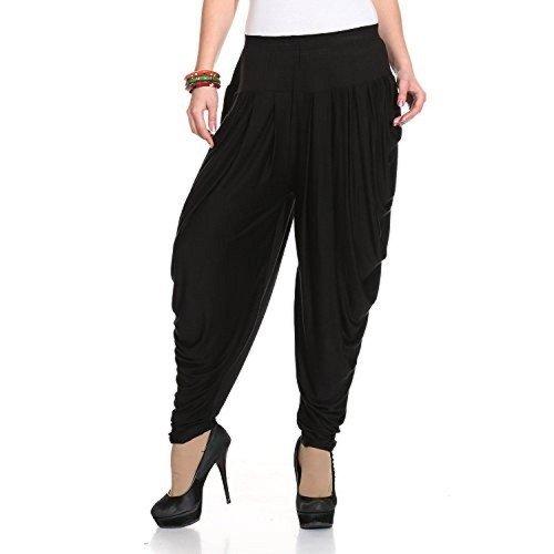 Legis Women's Viscose Dhoti Pants (BLK302DHT_Black_Free Size)