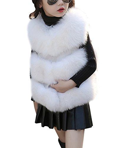 Laozan pelliccia di faux gilet senza maniche cappotto giacca gilet cappotti per ragazza bianca 140cm