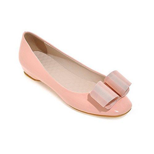 VogueZone009 Femme Carré à Talon Bas Verni Couleur Unie Tire Chaussures Légeres Rose