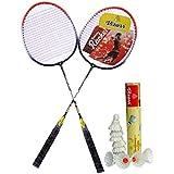 Vizorr Combo Of 2028 Badminton Multicolor Strung Badminton Racquet(G4-3.25 Inches, 310 G) And Aerotic-005 Feather Shuttle Cock (10 Pcs.)
