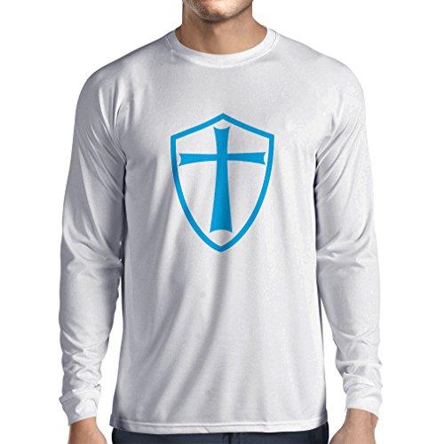 T-Shirt mit Langen Ärmeln Ritter Templer - Die Templer Schild Christian Ritter Ordnung (XX-Large Weiß ()