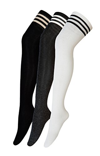 Mädchen Kostüm College Lustig - Urban GoCo Mädchen Overknee Überknie Kniestrümpfe Hold-up-Strümpfe Retro Schüler Knitting Sportsocken 3 Paare Mehrfarbig (A)
