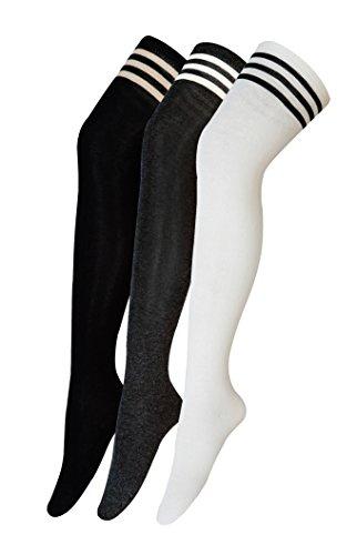 Urban GoCo Mädchen Overknee Überknie Kniestrümpfe Hold-up-Strümpfe Retro Schüler Knitting Sportsocken 3 Paare Mehrfarbig (A)