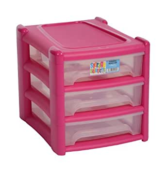 new a4 shallow 3 drawer plastic storage unit pink for office bedroom study kids room
