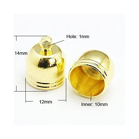 10 x Golden Plated Bell-Shaped End Caps Kumihimo/Ratta?il/Cord 12mm HA03220