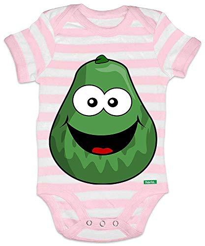 HARIZ Baby Body Streifen Avocado Lachend Früchte Sommer Plus Geschenkkarten Rosa/Weiß 0-3 (Avocado Baby Kostüm)