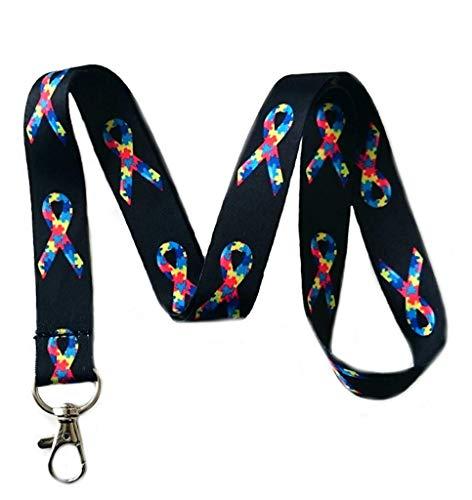 63a9e823cf0c Autism Awareness Ribbon Lanyard ID Cards Mobiles Keys Autism Neck Strap  (Gift Box Goodies) UK