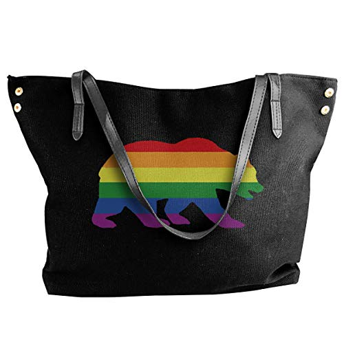 tiao9143 Damenhandtaschen,Damen-Schultertaschen Women's Canvas Large Tote Shoulder Handbag LGBT Bear Pride Messenger Bags Classic purse shopping Sling Bag -
