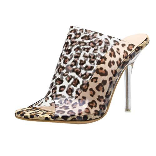 Leopardo Zapatillas Mujer Transparente Tacones Altos Cristal Moda Sandalias Zapatos