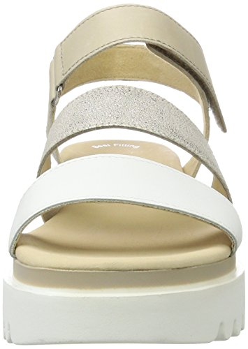 Gabor Fashion, Sandales Bout Ouvert Femme Blanc (weiss/powder/nude 21)