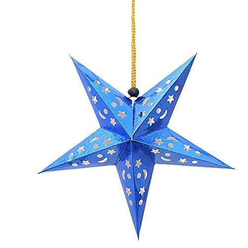 YFZYT Weihnachten Hängende Dekoration Papier Stern Pentagramm Ornament Sterne Lampenschirm für Feier und Party - 60 cm, 10 Stücke, Blau