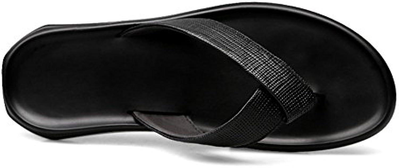 Sandalias de playa de piel de vaca negra Zapatillas de hombres ocasionales de color negro Chanclas transpirables  -