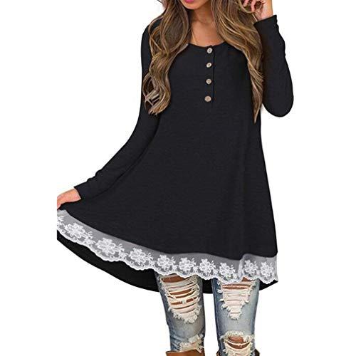 6a0974b545 LIGHTBLUE Damen Casual Langarm Kleid Swing Jumper Spitze Nähen Winter T- Shirt Kleider für Frauen, schwarz, S