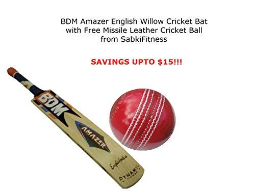 BDM AMAZER Cricketschläger aus englischem Weidenholz, Größe horrow mit Einem Gratis sabkifitness Cricket Leder Ball