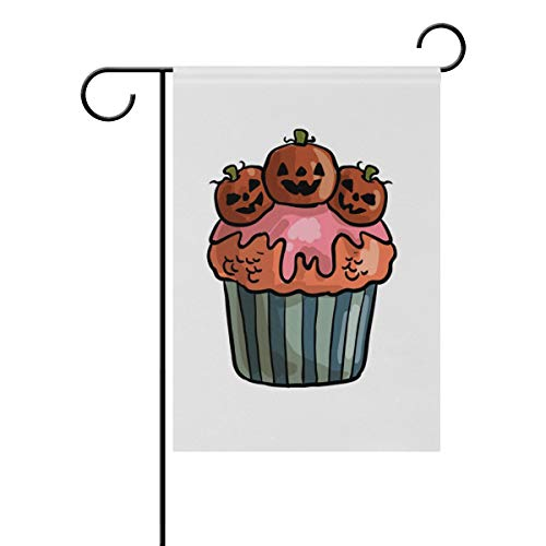 MONTOJ Vorhofflagge gruselig Halloween Cupcake Garten-Flaggen doppelseitig Bedruckt Mehrfarbig, Polyester, 1, 12x18(in) (In Halloween Mexiko)