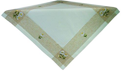 Gesticktes Margeriten-Motiv auf dezenter Leinenoptik mit Hohlsaum.Tischläufer und Mitteldecke erhältlich.Pflegeleicht,Material 90% Polyester,10% Leinen.Ausgewählte Größe jetzt:(ca. 85 cm x 85 cm) -