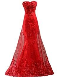 JAEDEN Sin tirantes Encaje Vestidos de baile Largo Sirena Vestido de fiesta Compromiso vestido