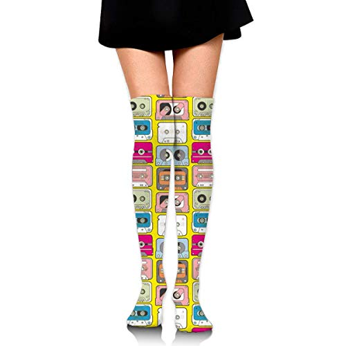 CVDGSAD Knee High Socks Funny Colorful Tape Pattern Long Socks Boot Stocking Compression Socks for Women (Winter Boot Made In Usa)