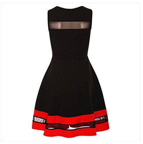 Femmes Sexy Crew Neck manches en mousseline Tutu Jupe Flare robe Clubwear Party Dress Noir