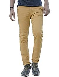 Labroz Men's Slim Fit Casual Solid Trousers 100% Pure Cotton Yellow(Light Khaki) Colour