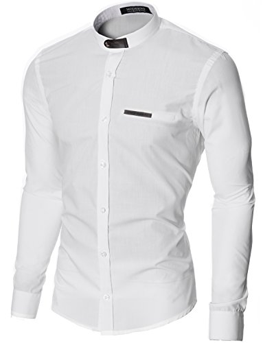 MODERNO Col Mao Manches Longues Chemise Homme (MOD1427LS) Blanc