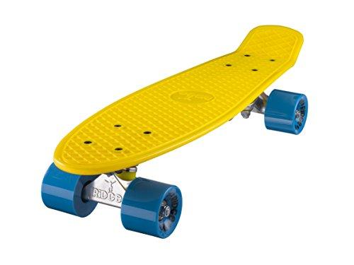 ridge, skateboard con ruote, completo e montato, mini cruiser retro stil in m rollen , 55 cm, giallo/blu (giallo/blu)