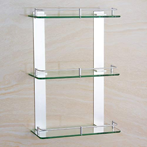 Ghelf Space Aluminium Dreifach-Glasregal Wandmontiertes Bad-Organizer-Regal aus Aluminium und Glas Badezimmer Quadratisches Dusch-Organizer-Regal Eloxiertes Badregal (Größe : 40cm)