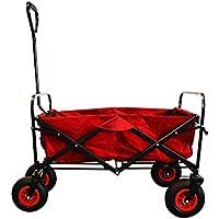MAXOfit® Faltbarer Bollerwagen Rot | mit Luftreifen und Festellbremse | Bis 70 kg Belastbar |