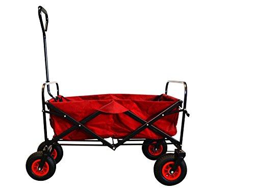 MAXOfit® Faltbarer Bollerwagen mit Luftreifen, Schutzhülle und Bremse | 360° Räder | Handwagen Platzsparend klappbar | bis 70kg, Rot - Extra Breiter Falt -