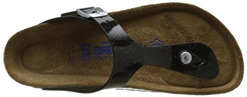 Birkenstock Gizeh Leder Softfootbed, Tongs mixte adulte Noir (Magic Galaxy Black)