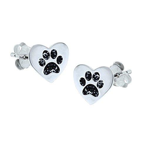 Sterling Silber Liebe Herz Pfote Ohrringe–Schwarz (Kätzchen Schwarze Pfoten)